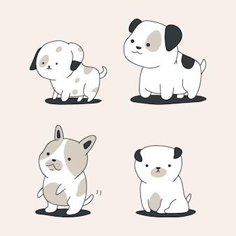 Ładny zarys psów wektor kreskówka zestaw na białym tle.
