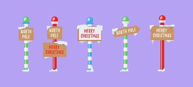 Ładny zbiór znaków bieguna północnego lub bożego narodzenia.