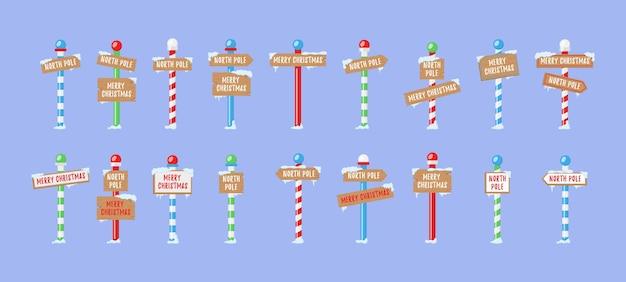 Ładny zbiór znaków bieguna północnego lub bożego narodzenia
