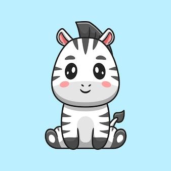 Ładny zebra siedzący kreskówka wektor ikona ilustracja. zwierzęca natura ikona koncepcja białym tle premium wektor. płaski styl kreskówki