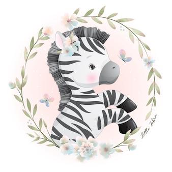 Ładny zebra z kwiatowy ilustracji