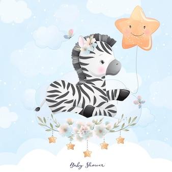 Ładny Zebra Z Kwiatowy Ilustracji Premium Wektorów