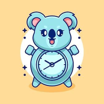 Ładny zegarowy projekt kreskówki koala