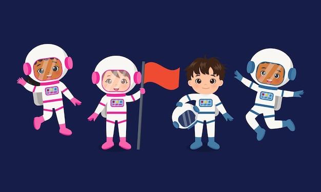 Ładny żeński i męski zespół astronautów flaga wektor kreskówka projekt