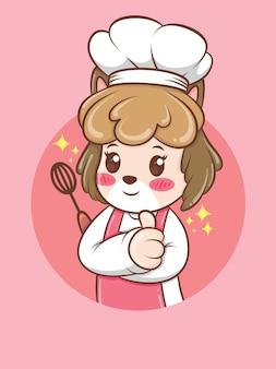 Ładny żeński pies kucharz trzyma mikser ręczny. koncepcja szefa kuchni piekarni. postać z kreskówki i ilustracja maskotka.