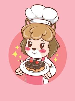 Ładny żeński pies kucharz trzyma tort. koncepcja szefa kuchni piekarni. postać z kreskówki i ilustracja maskotka.