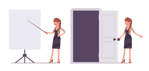 Ładny żeński pracownik biurowy blisko whiteboard przy prezentacją