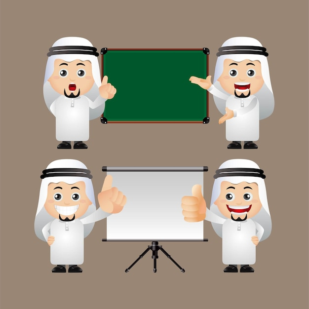 Ładny zestaw arabskich ludzi biznesu