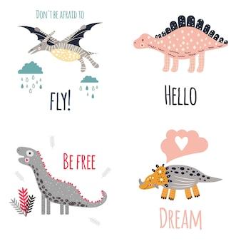 Ładny zestaw dinozaurów