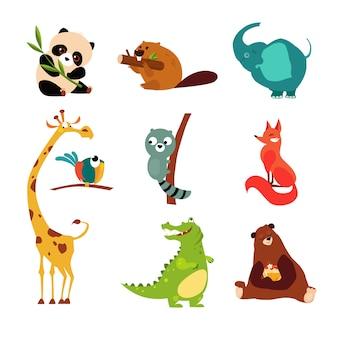Ładny zestaw dzikich zwierząt ilustracji