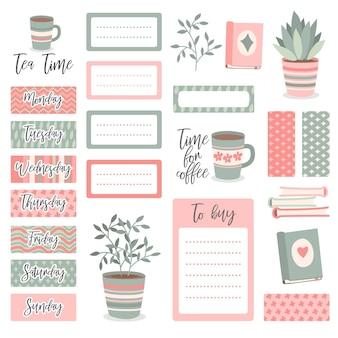 Ładny zestaw elementów notatnika planisty