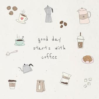 Ładny zestaw elementów projektu doodle kawy