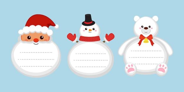Ładny zestaw etykiet na prezent świąteczny