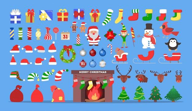 Ładny zestaw ikon bożego narodzenia. kolekcja noworocznych dekoracji z cukierkami i drzewem, prezentem i słodyczami. koncepcja wesołych świąt. święty mikołaj w czerwonych ubraniach. ilustracja