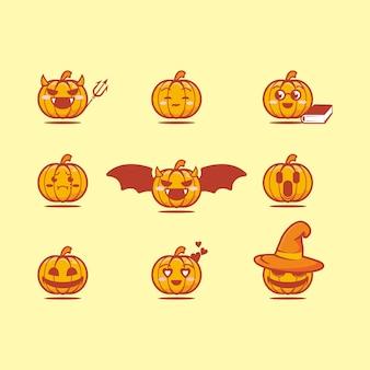 Ładny zestaw ikon twarzy dyni halloween, płaski styl kreskówki