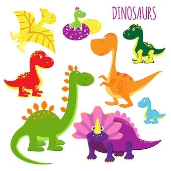 Ładny zestaw ikon wektorowych jaskrawych, żywych kreskówek dinozaurów dla dzieci, przedstawiających różne gatunki clipartów na białym tle