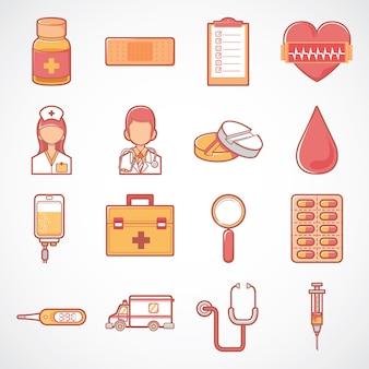 Ładny zestaw ikon zdrowia i medycyny