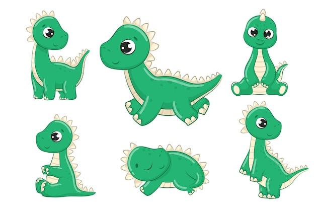 Ładny zestaw ilustracji dinozaurów dla dzieci. ilustracja wektorowa na chrzciny, kartkę z życzeniami, zaproszenie na przyjęcie, modne ubrania t-shirt druku.
