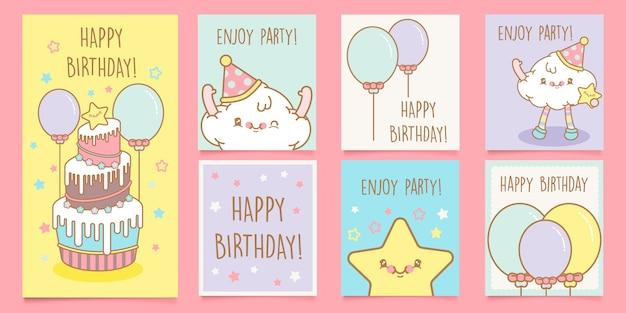 Ładny zestaw kart urodzinowych kawaii