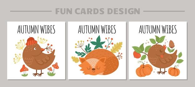 Ładny zestaw kart z ptakiem, lisem, dyniami. jesienny nadruk kwadratowy. jesienne zwierzęta leśne