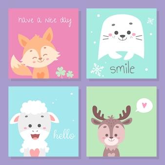Ładny zestaw kart zwierząt