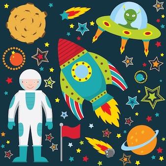Ładny zestaw kolekcji kosmosu