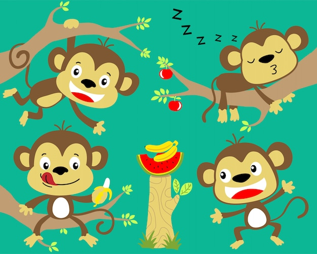 Ładny zestaw kreskówka małpa