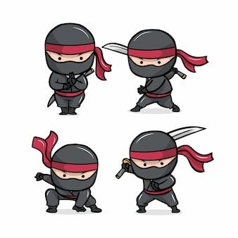 Ładny zestaw kreskówka ninja