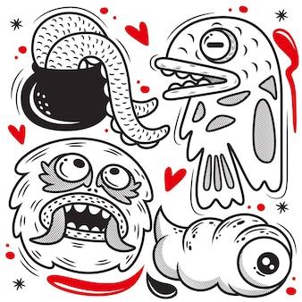 Ładny Zestaw Kreskówka Potwór. Doodle Ilustracja, Na Białym Tle Premium Wektorów