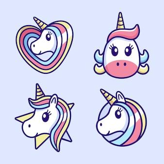 Ładny zestaw logo kreskówka jednorożca