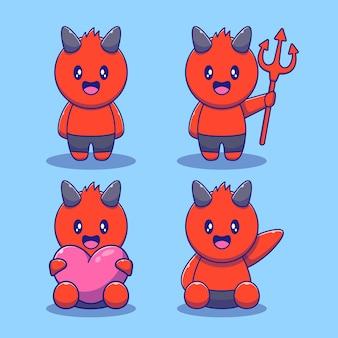 Ładny zestaw maskotka halloween diabeł. wesołych halloween płaskie ilustracje.