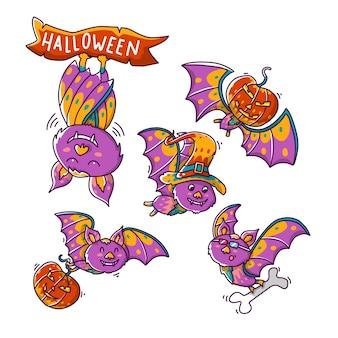 Ładny zestaw nietoperzy na halloween