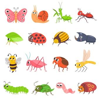 Ładny zestaw owadów kreskówka robak chrząszcz motyl robak śmieszny ślimak i mrówka!