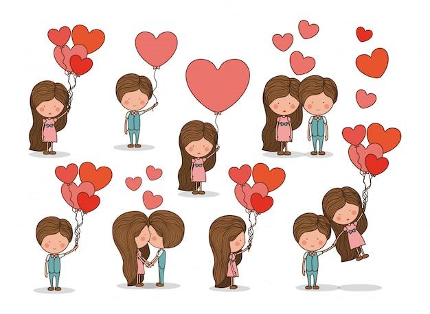 Ładny zestaw para zakochanych