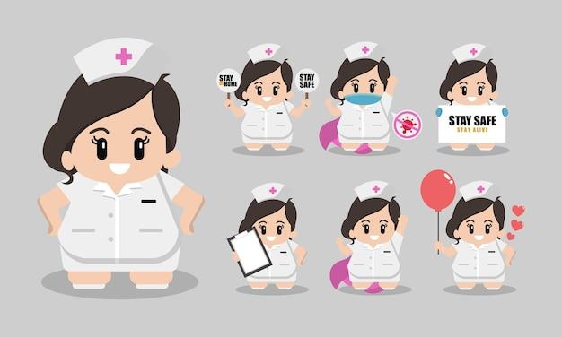 Ładny zestaw postaci z kreskówek pielęgniarki