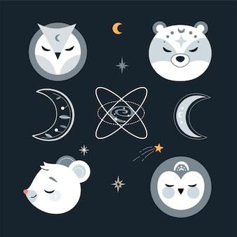 Ładny zestaw przedszkola ze zwierzętami, gwiazdami i elementami projektu.