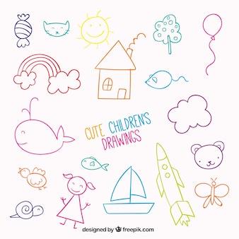 Ładny zestaw rysunków dzieci
