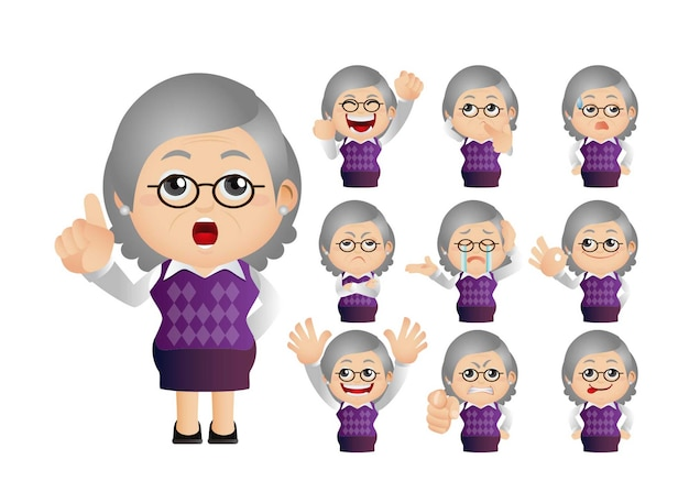 Ładny zestaw starej kobiety