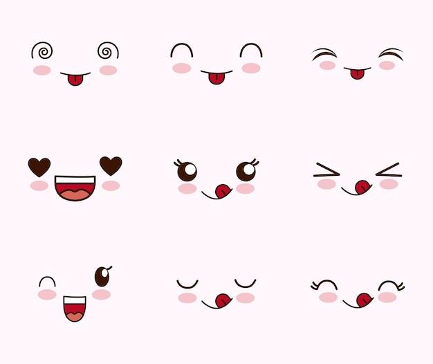 Ładny zestaw twarzy kawaii