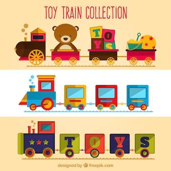 Ładny zestaw zabawowych pociągów