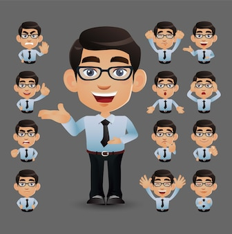 Ładny zestaw - zbiór ludzi biznesu z różnymi emocjami