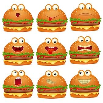 Ładny zestaw znaków burger kreskówka emoji.