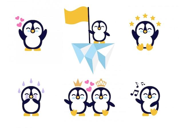 Ładny zestaw znaków pingwina dziecka.