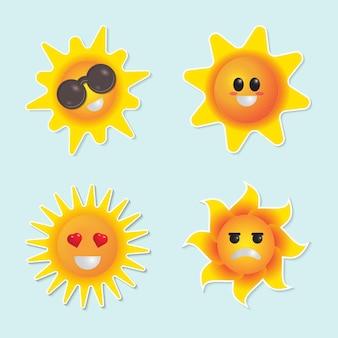Ładny zestaw znaków słońca