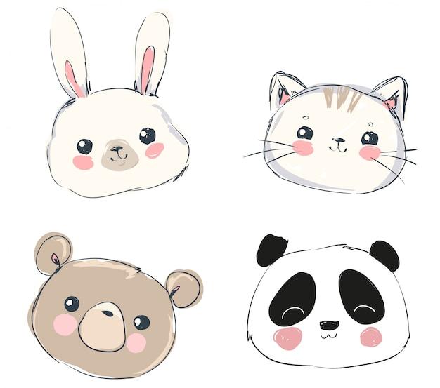 Ładny zestaw zwierząt, ręcznie rysowane ładny królik, niedźwiedź, panda i kot.