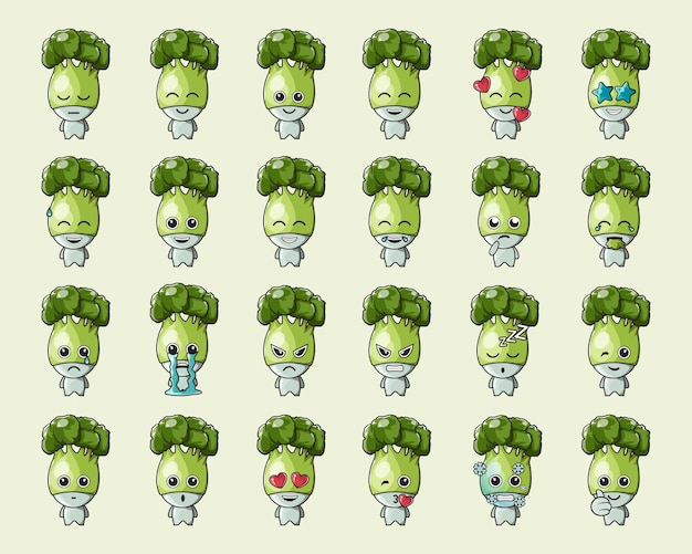 Ładny zielony emotikon warzywny brokuł, na logo, emotikon, maskotkę, plakat