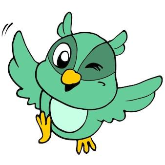 Ładny zielony ptak latający z radości. kreskówka ilustracja naklejka maskotka emotikon