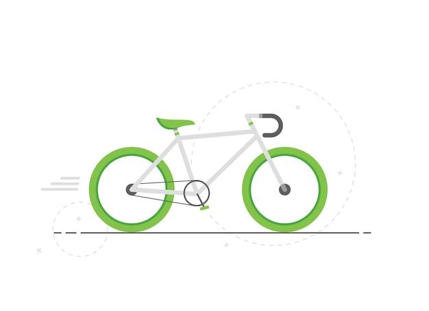 Ładny zielony rower w płaskiej konstrukcji