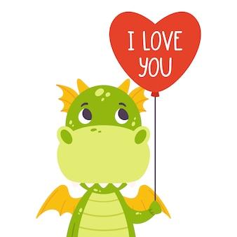 Ładny zielony smok z balonem w kształcie serca i ręcznie rysowane napis cytat - kocham cię.