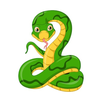 Ładny zielony wąż kreskówka